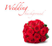 Round bridal bouquet of red roses. Round bouquet of red roses over white background Royalty Free Stock Photography