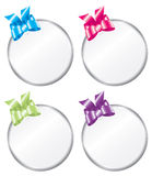Round Bright Colored Gift Tags. Variations of a round gift tag Stock Photo