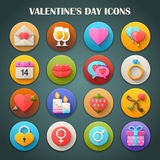 Round Bright Icons with Long Shadow: Valentines Day Stock Image