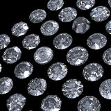Round brilliant cut diamond perspective on black. Background Stock Images