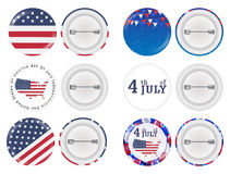 Round brooch 4th of july and america flag theme. A round brooch 4th of july and america flag theme stock illustration