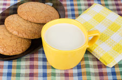 Round brown cookies in black dish and cup of milk Royalty Free Stock Photo
