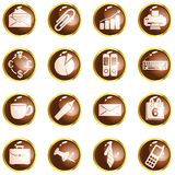 Round brown High-gloss office buttons Royalty Free Stock Photography