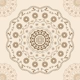 Round brown lace at center and corners on beige. Round lace pattern, brown on beige. Vector illustration Royalty Free Stock Photo