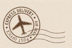 Round brown postmark on beige background. Vector illustration Stock Image