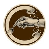 Round brown retro label with ribbon and woman`s hand holding a s Royalty Free Stock Images