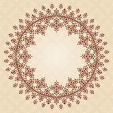 Round vector brown vintage ornament on light beige Royalty Free Stock Photos