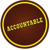 Round, brown and yellow, ACCOUNTABLE stamp on white background. stock illustration
