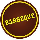 Round, brown and yellow, BARBEQUE stamp on white background. Illustration concept stock illustration