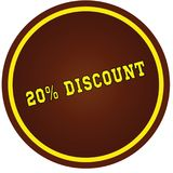 Round, brown and yellow, 20 PERCENT DISCOUNT stamp on white back. Ground. Illustration concept royalty free illustration