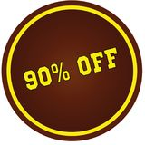Round, brown and yellow, 90 PERCENT OFF stamp on white backgroun. D. Illustration concept Stock Photo