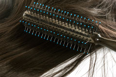 Round brush and hair Stock Photos