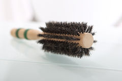 Round brush for styling hair. Royalty Free Stock Photography