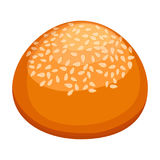 Round bun covered in sesame realistic style illustration. Round fresh-baked bun covered in sesame with golden-brown crust and soft inside realistic style  vector Stock Photos