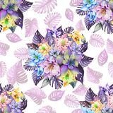 Round bunch of beautiful columbine flowers or aquilegia and exotic monstera leaves on white background. Watercolor painting. Tropical seamless floral pattern royalty free illustration