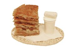 Round burek with yoghurt Royalty Free Stock Photography