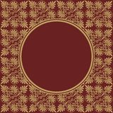 Round Burgundy frame on seamless texture with Greek ornament Royalty Free Stock Photo