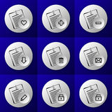 Round business document icon set buttons Royalty Free Stock Photo