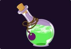 Round butelka z zielonym cieczem Obrazy Royalty Free
