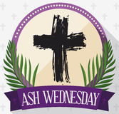 Round Button for Ash Wednesday with Cross, Palms and Ribbon, Vector Illustration. Flat style design with round button with hand drawn cross inside, palm branches Royalty Free Stock Images
