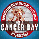 Round Button with Carcinogenic Cells View for Cancer Day Commemoration Stock Images