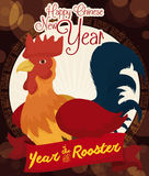 Round Button with Cartoon Rooster Commemorating Chinese New Year, Vector Illustration royalty free stock images