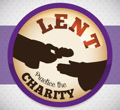 Round Button with Charity Action for Lent, Vector Illustration Royalty Free Stock Photo