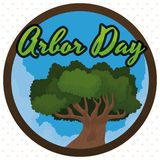 Round Button with Tree Inside and Cloudscape for Arbor Day, Vector Illustration. Round button with cloudscape and a tree to commemorate  Arbor Day Royalty Free Stock Photo