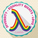 Round Button with Colorful Lambda Symbol for LGBT Equality Rights, Vector Illustration. Flat design with round button and lambda symbol made with rainbow flag Stock Photos