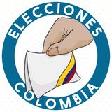Round Button with Electoral Card in Colombia, Vector Illustration. Round label with hand holding a pledge electoral card with the colors of the tricolor flag for Stock Photos