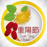Round Button with Dogwood and Chrysanthemum for Double Yang Festival, Vector Illustration Stock Photos