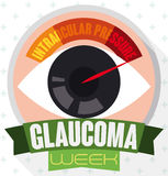 Round Button with Eye, Manometer and Ribbon Commemorating Glaucoma Week, Vector Illustration Stock Photo
