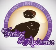 Round Button with Fasting Menu for Lent Celebration, Vector Illustration Royalty Free Stock Photo