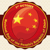 Round Button with Festive Balloon to Celebrate China's National Day, Vector Illustration. Poster with round button with a red balloon like Chinese flag to Royalty Free Stock Image