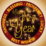 Round Button with Fireworks and Best Wishes for New Year, Vector Illustration. Round button with some New Year greetings and wishes around it and festive royalty free illustration