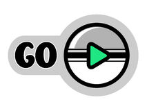 Round button for go playing game or icon for play video. Grey, white and green color. Stock Photos