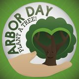 Round Button with Hand and Tree to Celebrate Arbor Day, Vector Illustration. Round button with a hand holding a cute, smiling tree with heart shaped foliage royalty free illustration