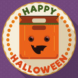 Round Button with Happy Halloween Pumpkin Bag, Vector Illustration Stock Image