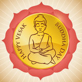 Round Button inside Lotus Design and Seated Buddha for Vesak, Vector Illustration vector illustration