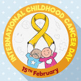 Round Button with Kids Commemorating International Childhood Cancer Day, Vector Illustration Royalty Free Stock Image