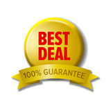 Round button with label `Best deal - 100% guarantee`. Vector design element for web stores. Red letters on yellow circle and yellow tape Stock Image