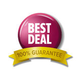Round button with label `Best deal - 100% guarantee`. Vector design element for web stores. White letters on crimson circle and yellow tape Stock Photo