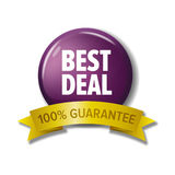 Round button with label `Best deal - 100% guarantee`. Vector design element for web stores. White letters on violet circle and yellow tape Stock Photography