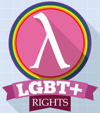 Round Button with Lambda Symbol and Ribbon for LGBT Rights, Vector Illustration Stock Images