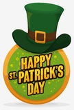 Round Button with Leprechaun`s Hat for St. Patrick`s Day Celebration, Vector Illustration Stock Photos