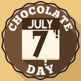 Round Button with Melt Reminder Date for Chocolate Day, Vector Illustration Royalty Free Stock Images