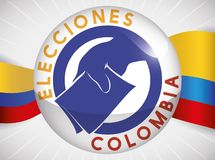 Round Button with Patriotic Colombian Flag for Elections Event, Vector Illustration Royalty Free Stock Photo