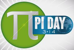 Button with Diameter, Pi Symbol and Ribbon for Pi Day, Vector Illustration. Round button with pi symbol with diameter line and a label with globe to commemorate stock illustration