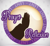 Round Button promoting Reflexion and Prayers in Lent Season, Vector Illustration Stock Photos