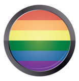 Round button with rainbow flag Stock Photos